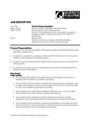 JOB DESCRIPTION - The Queen's Theatre