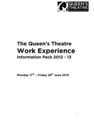 Work Experience - The Queen's Theatre