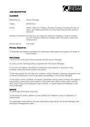 JOB DESCRIPTION JOB DESCRIPTION CLEANER Reporting to ...