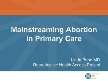 Mainstreaming Abortion in Primary Care