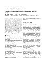 Analysis of technical parameters of the modernized drive-less tedder ...