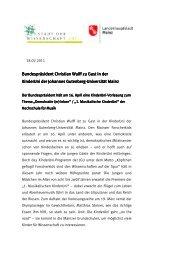 Bundespräsident Christian Wulff zu Gast in der Bundespräsident ...