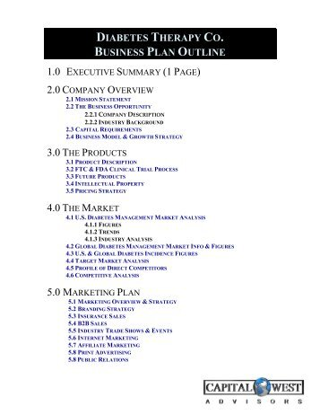 View A Sample Biotech Business Plan Outline   Capital West Advisors