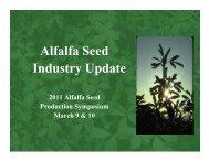 Alfalfa Seed Industry Update