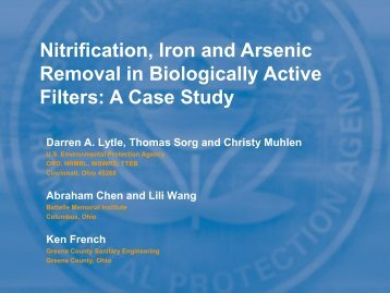 Nitrification, Iron and Arsenic Removal in ... - Ohiowater.org