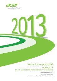 Agenda of Shareholders' Meeting. - Acer Group
