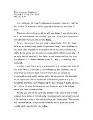 Commencement Address Gregory B. Craig, Esq. P'05 May 29, 2005 ...