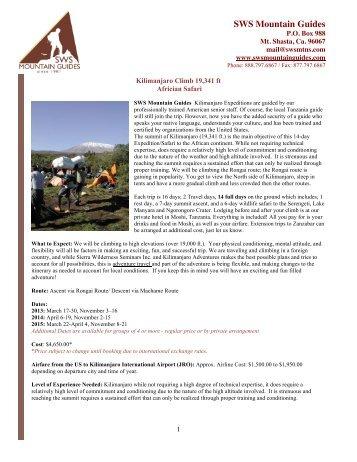 Kilimanjaro Ascent & Safari Information - SWS Mountain Guides