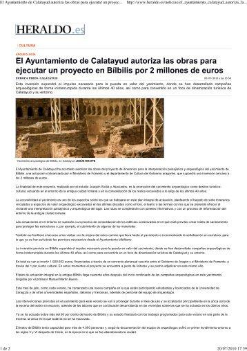 El ayuntamiento de Calatayud autoriza las obras para ejecutar un ...
