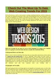 Check Out The Most Up To Date Web Creating Trends For 2015