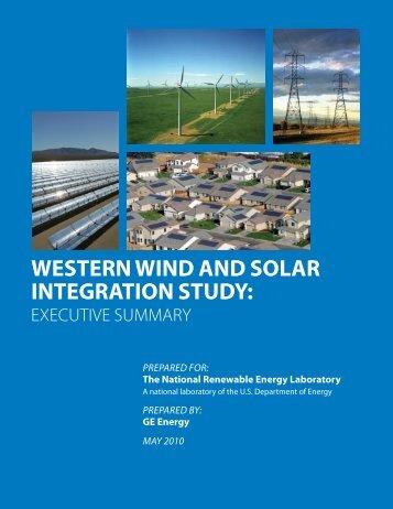 Western Wind and Solar Integration Study: Executive ... - NREL