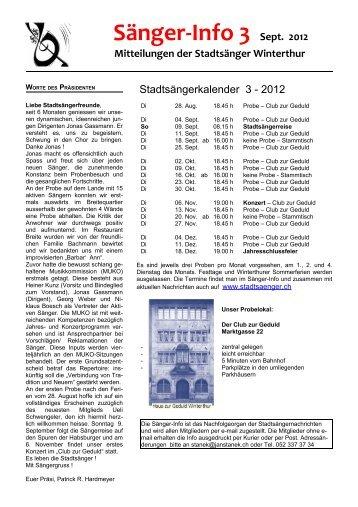 Info Nr. 3 - September 2012 - Stadtsänger Winterthur