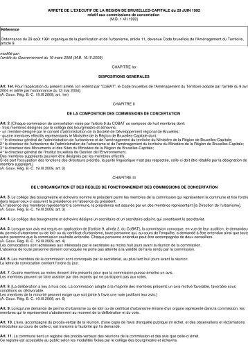 Arrêté du 29 juin 1992-commissions de concertation - Koekelberg