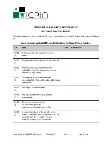 checklist for quality assessments of informed consent forms