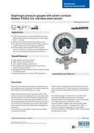 Diaphragm pressure gauges with switch contacts Models ... - sini.se