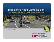 Bike Lanes Road Diet/Bike Box on West Ponce de Leon Avenue