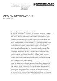 Medienmitteilung Emmentaler blickt positiv in die Zukunft