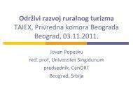 Održivi razvoj ruralnog turizma - Privredna komora Beograda