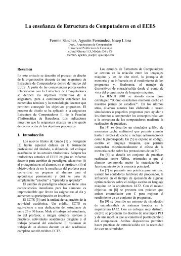 La enseñanza de Estructura de Computadores en el EEES