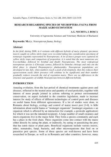 65_ Research regarding species of neuroptera fauna from maize ...