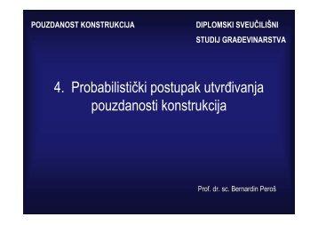 4. Probabilistički postupak utvrđivanja pouzdanosti konstrukcija
