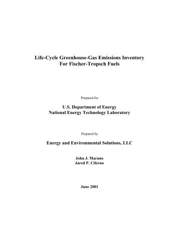 Life-Cycle Greenhouse-Gas Emissions Inventory For Fischer