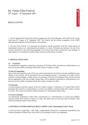 regolamento 64 en - Venice Lido
