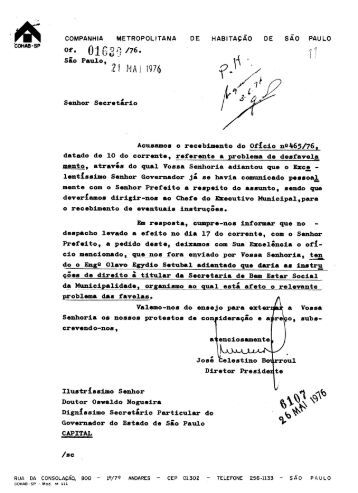of. ®1 t Sao Paulo, Senhor Secretario Acusamos o ... - Paulo Egydio
