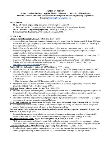 James Pitton's CV (PDF, 117 KB) - Applied Physics Laboratory ...