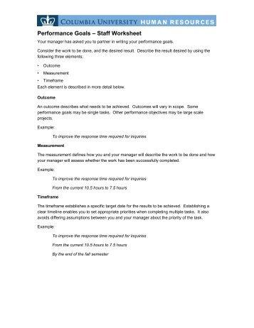 Performance Goals â\u20ac\u201c Staff Worksheet