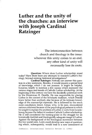 Joseph Ratzinger. Luther and the Unity of the Churches. Communio ...