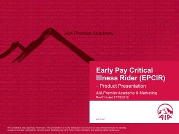 Early Pay Critical Illness Rider (EPCIR) - Slides on Product ...