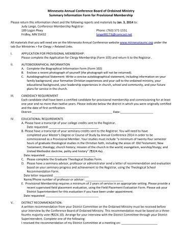 Provisional Membership Summary Information Form - Minnesota ...