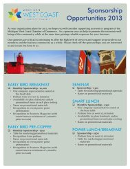 Sponsorship Opportunities 2013 - West Coast Chamber of Commerce