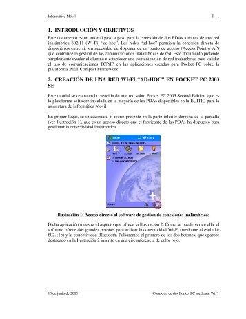 """1. introducción y objetivos 2. creación de una red wi-fi """"ad-hoc"""""""