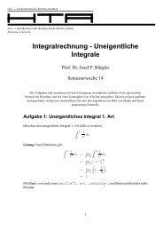 Integralrechnung - Uneigentliche Integrale - stuber.info