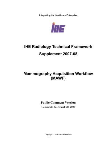 IHE Radiology Technical Framework Supplement 2007-08