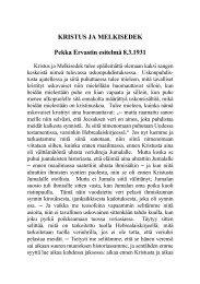 KRISTUS JA MELKISEDEK Pekka Ervastin esitelmä 8.3.1931
