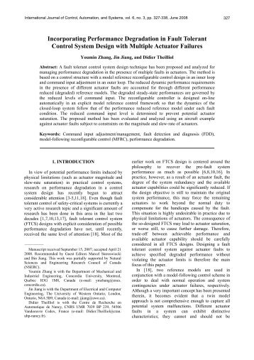 Incorporating Performance Degradation in Fault Tolerant Control ...