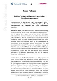 & Press Release - Galileo Group AG