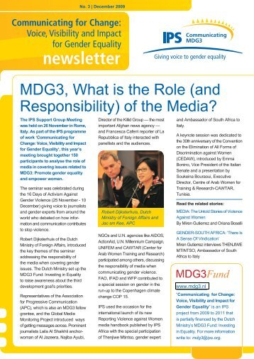 third issue of the MDG3 global newsletter - IPS Inter Press Service