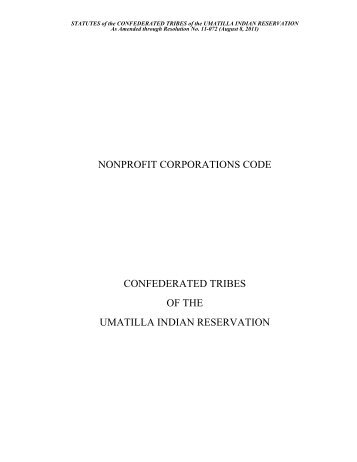 Non Profit Corporations Code - Confederated Tribes of the Umatilla ...