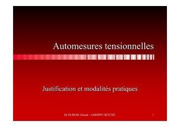 Automesures tensionnelles, Justification et modalités - ammppu
