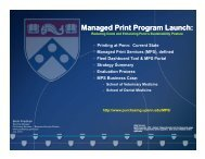 Managed Print Program Launch - Penn Purchasing Services