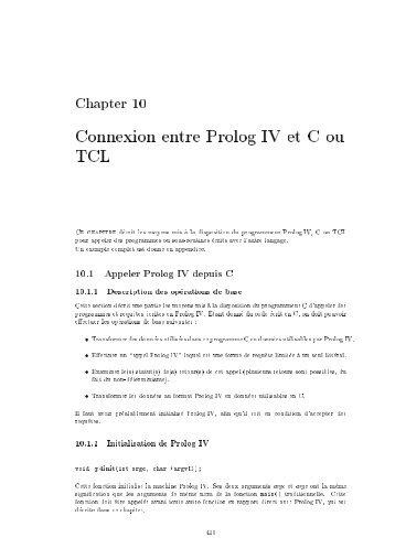 Connexion entre Prolog IV et C ou TCL - Colmerauer, Alain