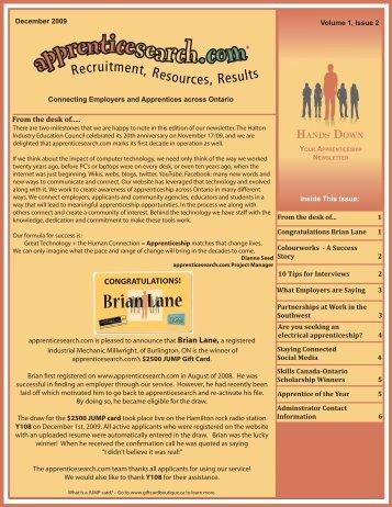 apprenticesearch.com's Newsletter - Winter 2009/2010