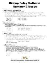 Bishop Foley Catholic Summer Classes Registration Form