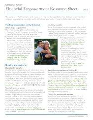 Financial Empowerment Resource Sheet 2012 - Consumer Action