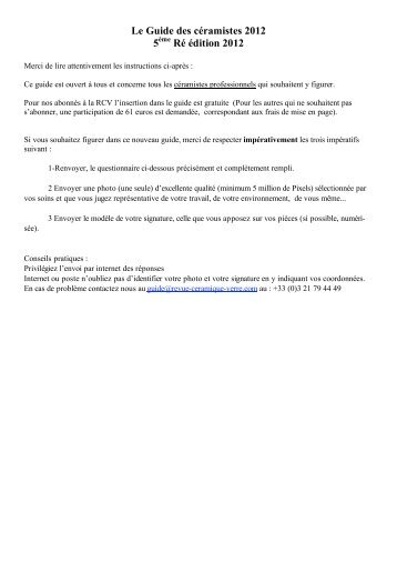 Guide 2012 - questionnaire - Swissceramics