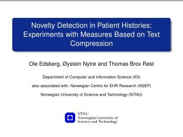 Novelty Detection in Patient Histories: Experiments ... - VideoLectures